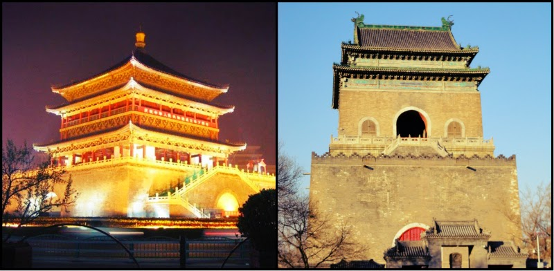 (ซ้าย) หอกลอง (ขวา) หอระฆัง (ทั้งสองภาพเอามาจากแหล่งอื่นฮะ)