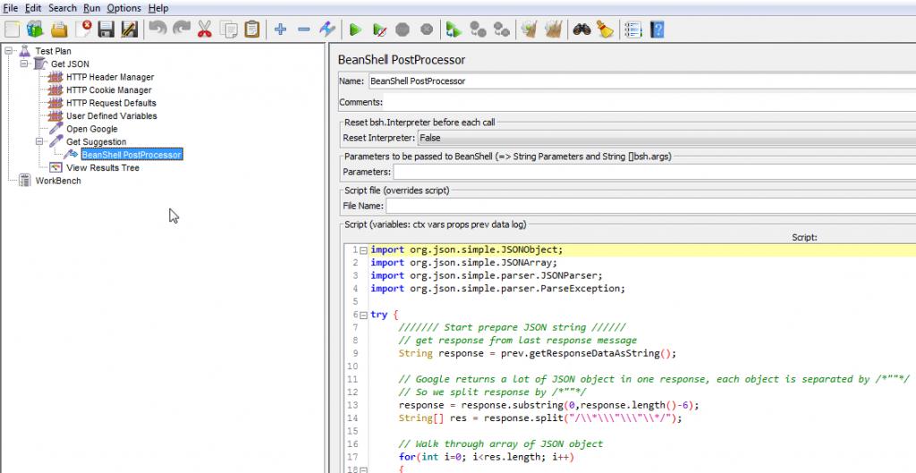Figure 3. การสร้าง BeanShell PostProcessor